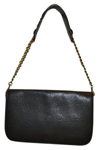 ABACO Made In France Lambskin Chain Baguette Messenger BLACK Messenger Bag