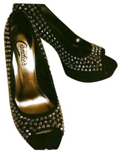 Candie's Studs Stiletto Velvet Summer Black Silver Platforms