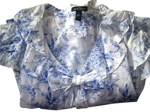 Ralph Lauren Floral Top White and Blue