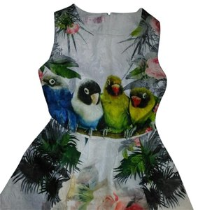 short dress CUTE PARROT FLORAL PRINT SKATER MINI on Tradesy