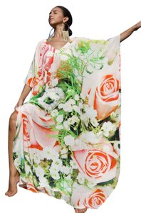 Flower pink Maxi Dress by Victoria Luxury Silk Kaftan Embellished Kaftan