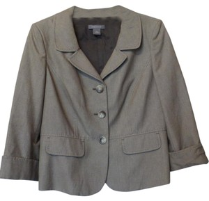 Ann Taylor Medium Check Taupe / Brown and Off-White Blazer