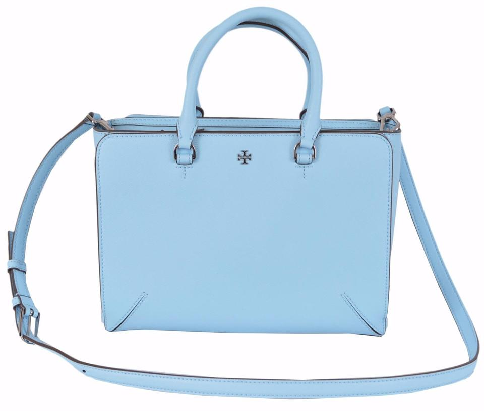 Tory Burch New Blue Leather Robinson Small Zip Convertible Light ...