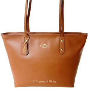 Coach Leather City Zip Tote Satchel in Saddle (Brown)