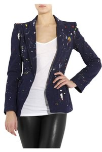 Alexander McQueen Mcq Jacket Top Rare 2010 Made In Italy Italian Designer Blue Paint Splatter Paint Splattered Structured Tailored Navy Blazer