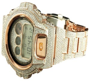 G-Shock Iced Out Bezel Band Wristwatch Gshock Dw6900 Rose Gold Tone Copper G Shock Watch