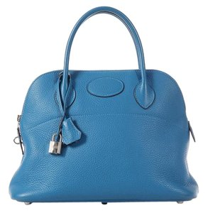 Hermès Blue Hr.k0517.07 Clemence Leather Palladium Satchel