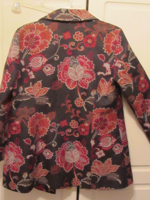 Chico's black with red and white floral print Blazer