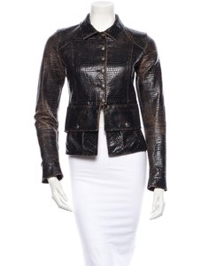 Chanel Leather Croc Vintage Motorcycle Jacket