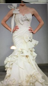 Pnina Tornai White Satin Runway Modern Wedding Dress Size 8 (M)