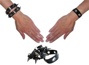 Lot of 2 Faux-Leather Studded Cuffs: Spikes + Grommets