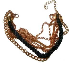 New Black And Gold Multi Strand Bracelet J584