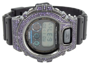 G-Shock Mens G-shock Watch Purple Simulated Diamonds Dw6900 Custom Silicone Black Band