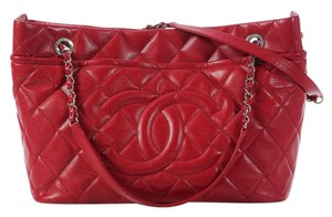 Chanel Red Quilted Ch.k0513.04 Tote