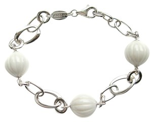 Fossil Fossil Ceramic Ball and Sterling Silver Chain Link Bracelet JF16340040