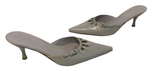 Via Spiga All Leather Open Works Padded Insoles Italian Gray Mules