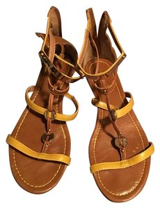 Bamboo Tan And Gold Gladiator Brown & Mustard Sandals