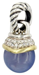 David Yurman Cable Classics Chalcedony and Diamond Acorn Pendant in 14k Yellow Gold and 925 Sterling Silver