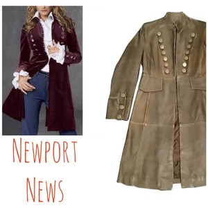 Newport News Leather Military Distressed Trench Coat