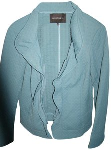 Lafayette 148 New York Cotton Ruffle Front Front Zipper Imprint Design Teal Jacket