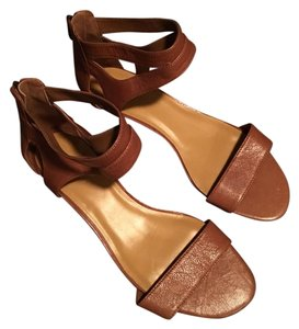 Nine West Sandal Leather Cognac Wedges