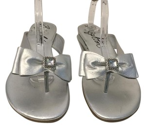 Brighton Double Bow Clear Jewel Silver patent and leather Sandals