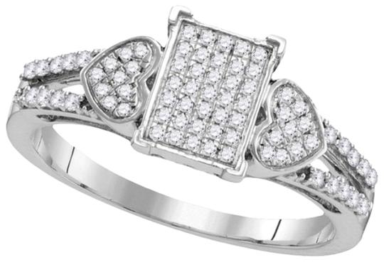Other BrianG 10k WHITE GOLD LADIES 0.25 CTTW HEART DIAMOND MICRO PAVE LUXURY FASHION RING