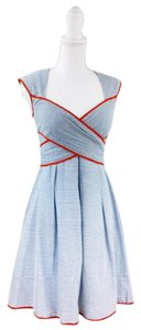 Jessica Simpson short dress Blue stripe with red/orange trim on Tradesy