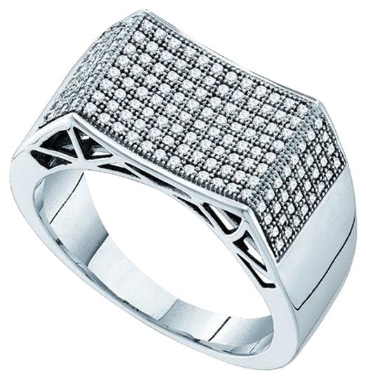 Other BrianG MENS DESIGNER 10k WHITE GOLD 0.50 CTTW DIAMOND MICRO PAVE LUXURY FASHION RING