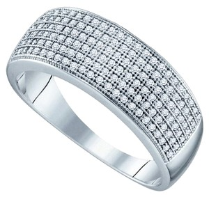 BrianG MENS DESIGNER 10k WHITE GOLD 0.50 CTTW DIAMOND MICRO PAVE LUXURY FASHION RING / BAND
