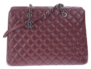 Chanel Quilted Chain Woven Pendant Tote in Red