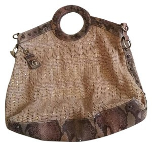 Guess Leather Snakeskin Tote in Gold and beige