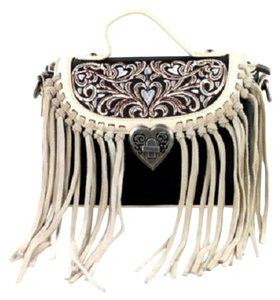 Montana West Embroidery Leather Fringe Cross Body Bag