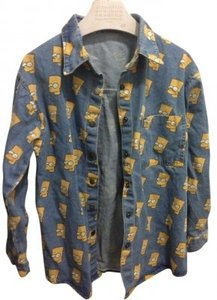 Jeremy Scott Bart Simpson Button Down Shirt Denim Blue