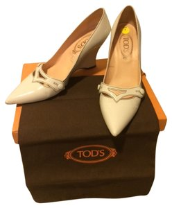 Tod's Patent Leather Heel Made In Italy Off white Wedges
