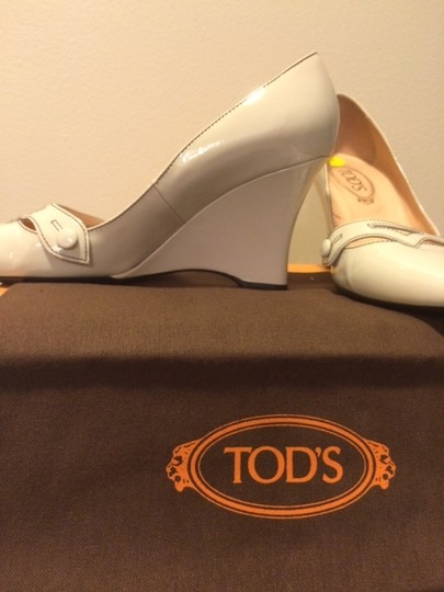 Tod's Patent Leather Heel Made In Italy Off white Wedges Image 2