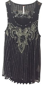 Free People Pleated Embellished Top Black