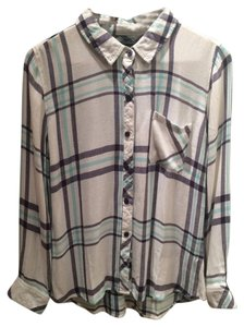 Rails New Soft Flannel Button Down Shirt White/Navy/Mint/Cream