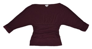 Cielo 3/4 Length Sleeves Shirt Pretty Cute Fitted Top Merlot