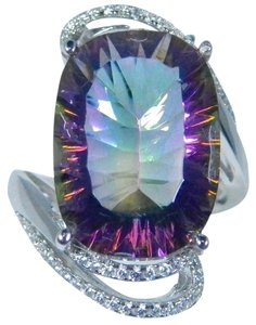 Other Exquisite Cushion Shape Mystic Quartz Sterling Silver Ring