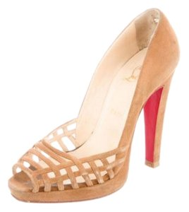 Christian Louboutin Red Bottoms Loubs Stiletto Tan Christian Louboutin Peeptoe Size 42 / 12 Pumps