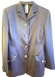 Versace VTG Grey 2 PC.Sateen Medusa Rhinestone Button Skirt Suit