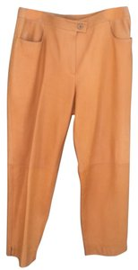 Chanel Designer Leather Straight Pants Golden Mustard