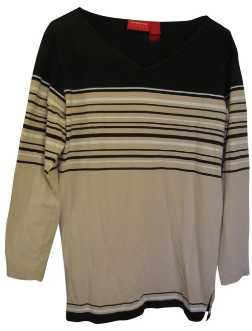 Liz Claiborne T Shirt Tan with Black and White Stripes