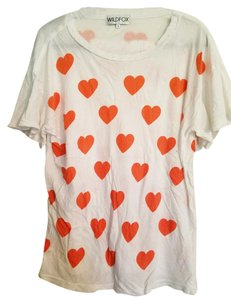 Wildfox T Shirt White with orange hearts