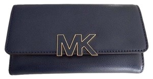 Michael Kors Michael Kors Florence Leather Large Billfold Wallet Navy