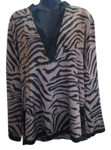 Chico's Silk Animal Print Formal Career Top Tan & Black