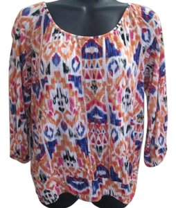 Chico's Ikat Casual Medium Stretchy Top Multicolored