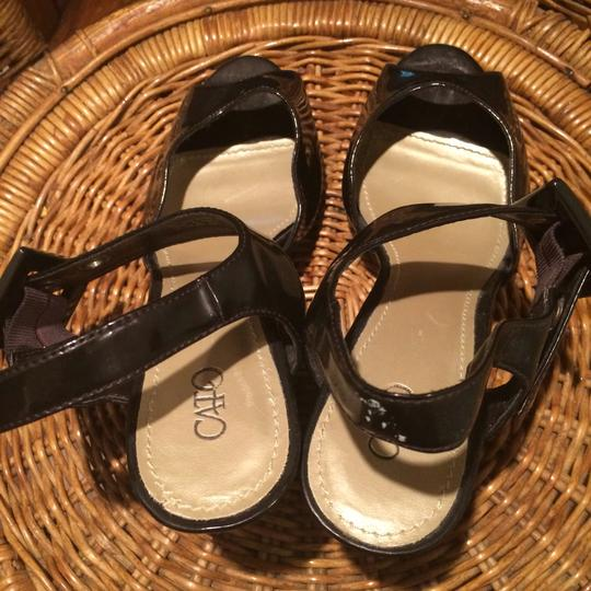 Cato Black Faux Leather/Buckles Wedges Image 1