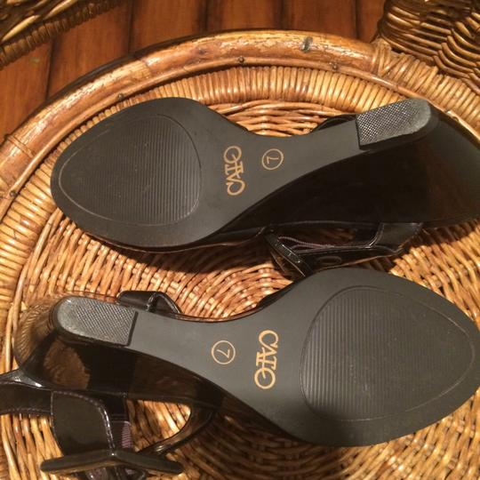 Cato Black Faux Leather/Buckles Wedges Image 2